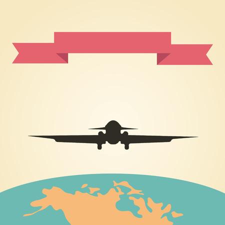 vintage plane: Flying vintage plane with the banner, Vacation illustration