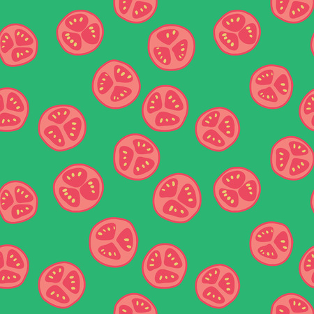 sliced: Stylized red tomato pattern with green background