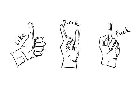 three hands: Three hands making like.rock sings.Sketchy design
