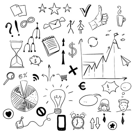 sketchy illustration: Set of business  doodles elements, Sketchy illustration hand drawn, object isolated