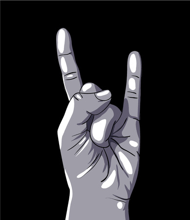 forked: Hand in rock n roll sign, illustration