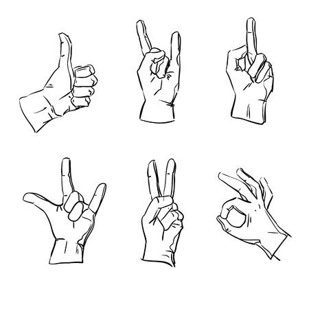 interpretations: Vector hands in different interpretations, sketch design