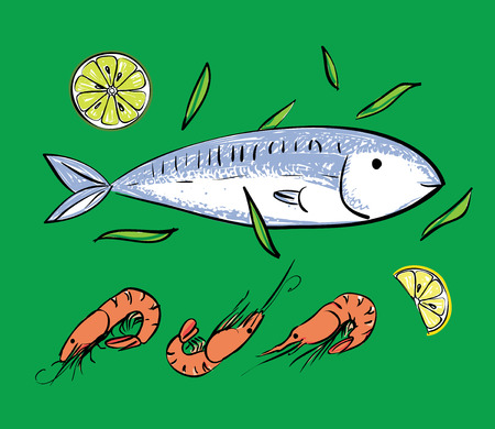 backgruond: Seafood set. Fish and shrimps on green backgruond