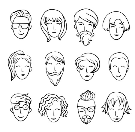 ni�as sonriendo: Muchachos dibujos animados divertidos y ni�as sonrientes dise�o Personajes.