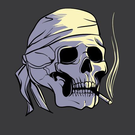 bandanna: Skull with Bandanna and cigarette, illustration