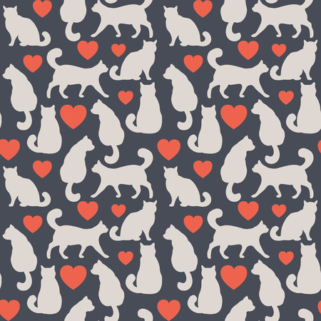 model fish: Seamless pattern with cats , silhouette