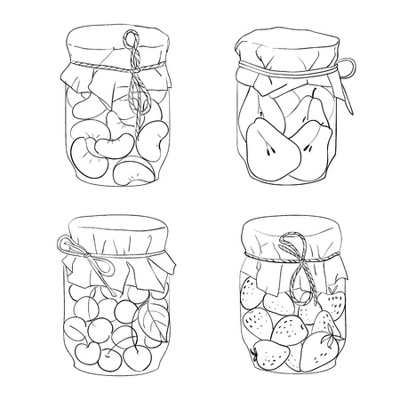 jams: Set of various homemade jars with fruit jams