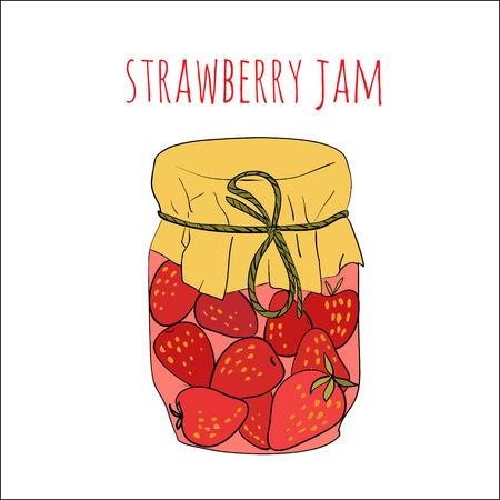 canning: Jar of strawberry jam isolated on white Illustration