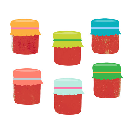 tagged: Set from jars with fruit and berry jam