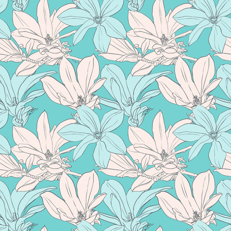 magnolia: Seamless pattern with magnolia on blue background