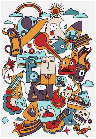 crazy cute: Cute crazy doodles life illustration, doodle drawing style. Design Elements