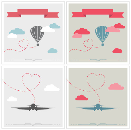 aerostat: Vintage airships. airplane and aerostat with hearts.  Illustration