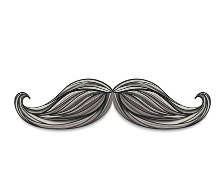 Hand drawn mustache isolated on white