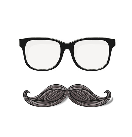 nerd glasses: hipster glasses and drawn mustache isolated in white background