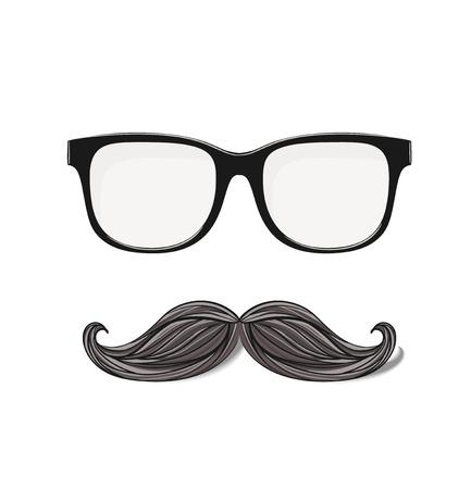 anteojos: vidrios del inconformista y bigote dibujado aislados en fondo blanco