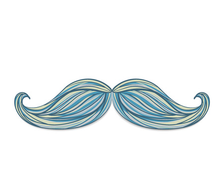 hair mask: Vintage hand drawn mustache isolated on white