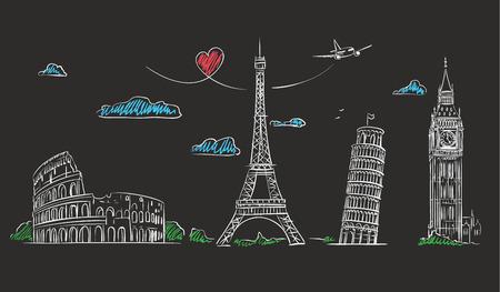 Handritad turist collage med sevärdheterna i Europa på tavlan.