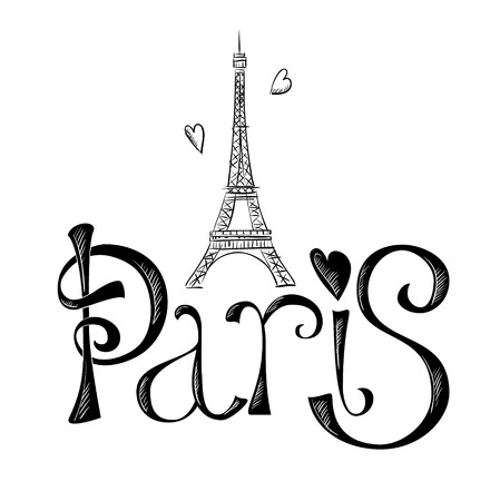tours: Hand drawn illustration with Eiffel tower. Paris.