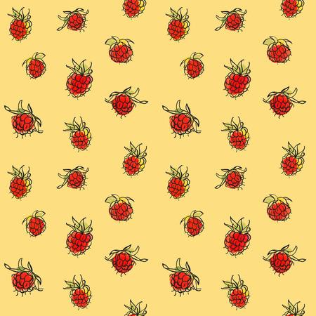 rt: Hand drawn raspberry seamless pattern. Bright ripe berries background.