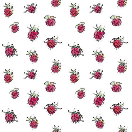 rt: Hand drawn raspberry seamless pattern. Red ripe berries background.