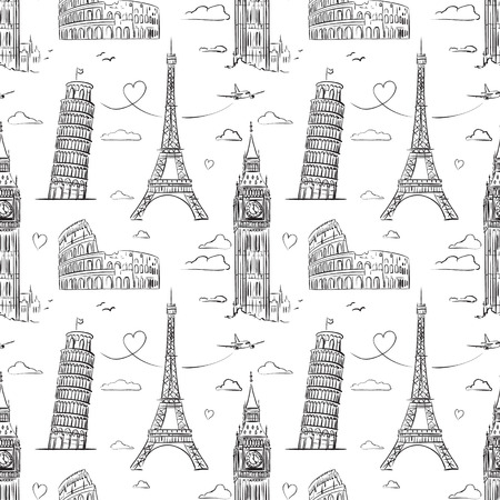 Hand drawn seamless pattern with sights of Europe. Vector Illustration