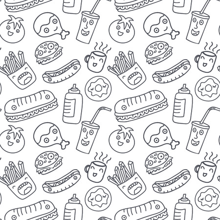 burger cartoon: Seamless pattern with monochrome cartoon fast food icons. Funny characters.