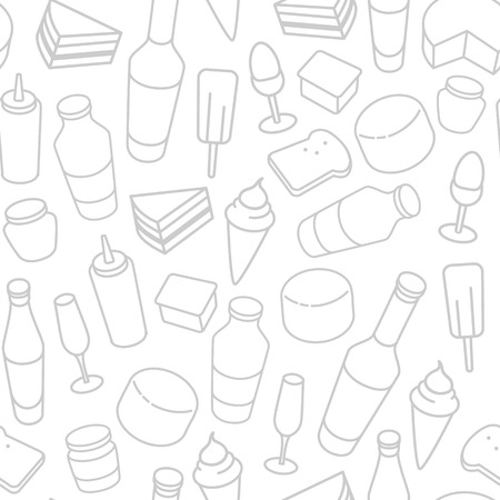 cheese cake: Food thin line icon seamless pattern. Beer, wine bottle, cheese, ice-cream, toast, egg, cake icons on white background Illustration