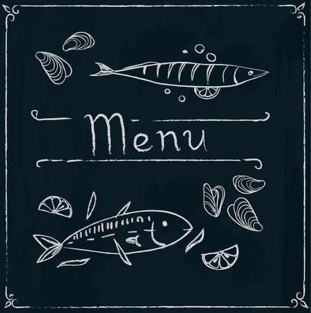 appetizers: Hand drawn menu design with seafood on blackboard. Vector illustration