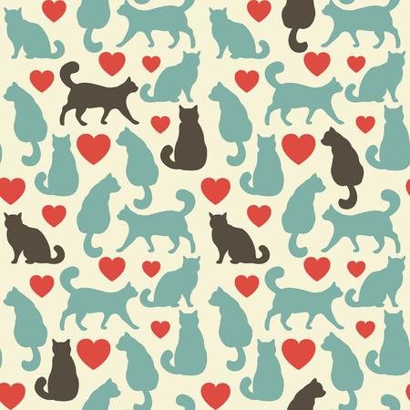 silueta de gato: Modelo inconsútil con los gatos. Ilustración vectorial colorido