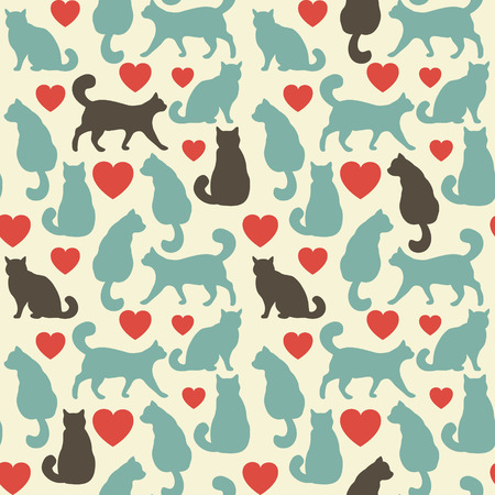 gray cat: Seamless pattern with cats. Colorful vector illustration