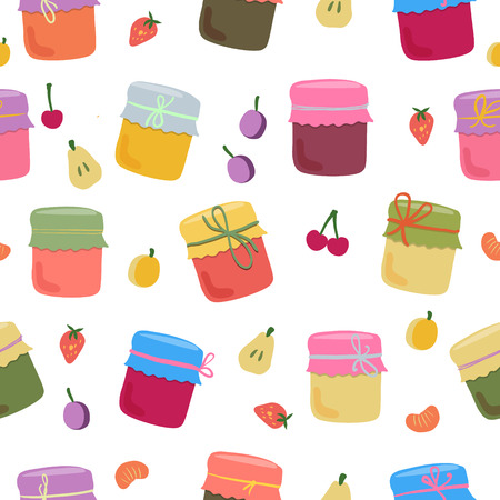 jams: Seamless pattern with home-made jams and fruts. Vector illustration for your design.