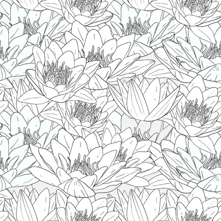 white lily: Seamless pattern with white lily flowers, decorative floral illustration