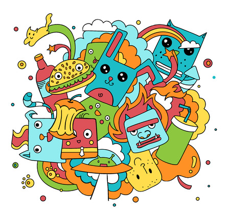 Funny doodle vector illustration, cute cartoon characters in color
