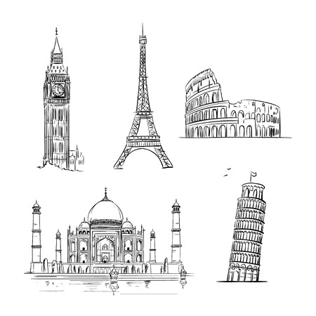 pisa tower: Hand drawn world landmark set. Travel and tourism background. Vector Illustration