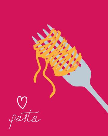 Vector drawn spaghetti on the fork. I love pasta poster Ilustração