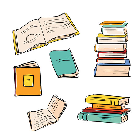deberes: Dibujado a mano libros de color establecidos. Abierto y libros cerrados aislados sobre fondo blanco.