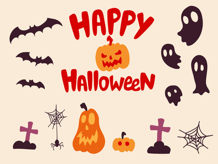 happy halloween: Happy halloween characters set  Vector design elements. Illustration