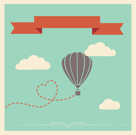 aerostat: Retro style vector card with aerostat flying in the clouds Illustration