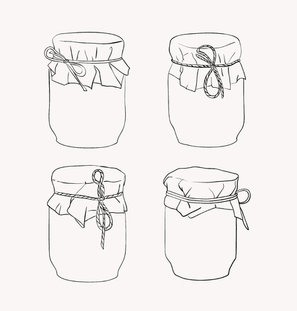 small group of objects: Vector set of hand drawn jars isolated on white background Illustration