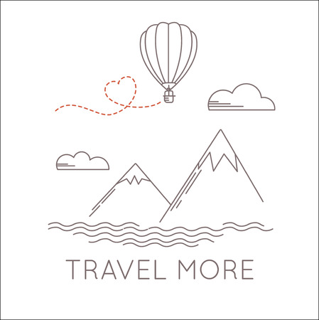 aerostat: Linear landscape with aerostat flying under the mountains. Vector travel illustration in linear style with text, travel more