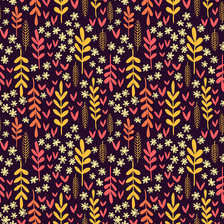 autumn leafs: Colorful vector pattern with various autumn leafs and flowers, floral seamless background