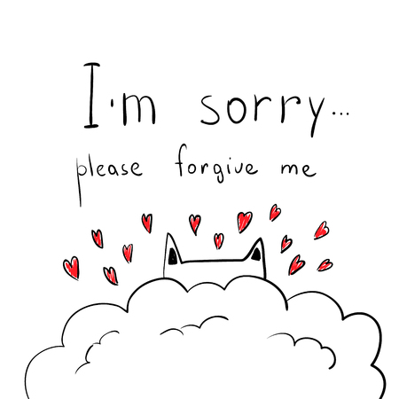 Cute hand drawn cat with hearts. Apologize card. I m sorry, please forgive me. Ilustração