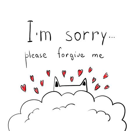 to forgive: dibujados mano linda del gato con corazones. Apologize tarjeta. Lo siento, por favor perdoname.