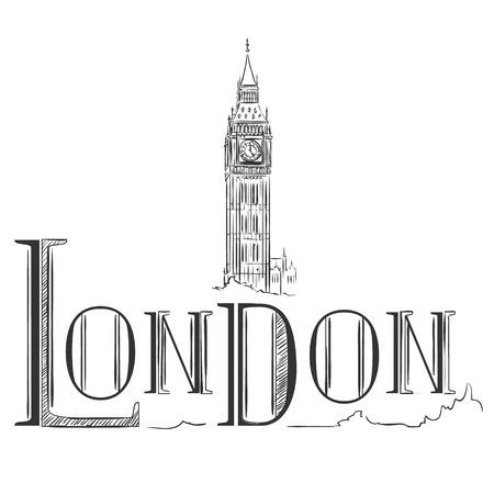 Hand drawn illustration with Big Ben. London, the UK. Vector design elements Illustration