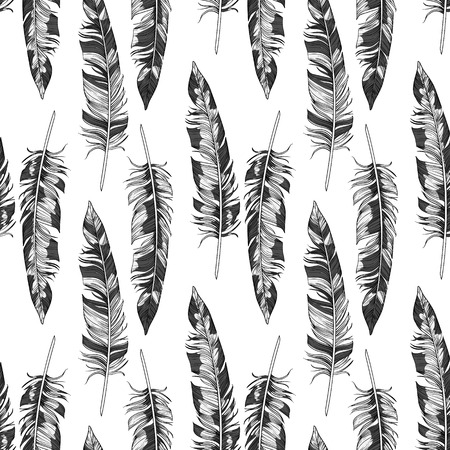 feather quill: Vector black and white hand drawn feathers seamless pattern,