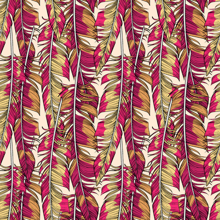 lightness: Vector bright hand drawn feathers seamless pattern