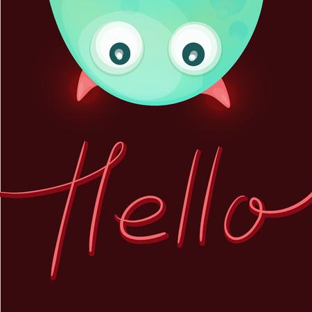 monster: Funny monster saying Hello. Greeting card. Vector illustration
