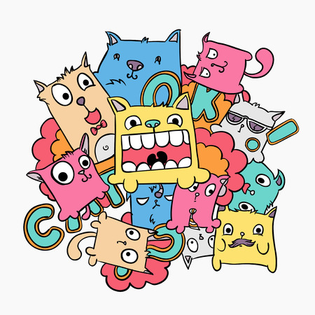 Cat doodle vector illustration, cute colorful cartoon animals Vettoriali