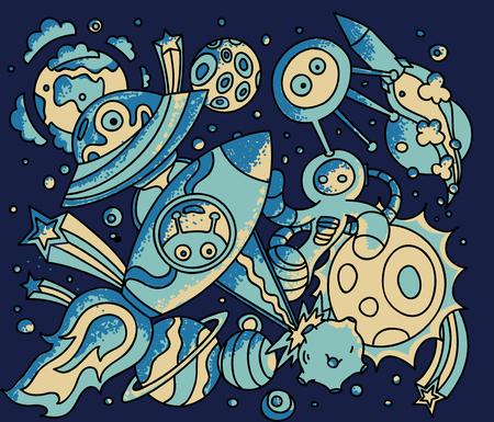 luna caricatura: garabatos espaciales. Vector ilustraci�n de dibujos animados. cartel c�smico