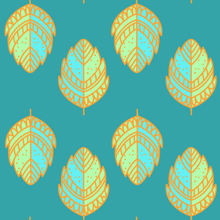 green background texture: Ethnic seamless pattern, hand drawn leaf texture